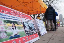 Жителі Вільнюса підписують петицію проти репресій Фалунь Дафа в Китаї