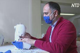 Біженці в Німеччині шиють захисні маски для стареньких