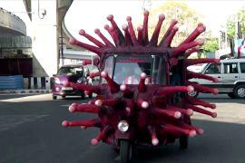 Моторикша у вигляді коронавірусу нагадує про гігієну під час епідемії