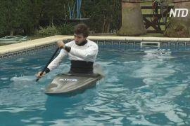 Аргентинський каноїст готується до Олімпіади, плаваючи у басейні біля дому