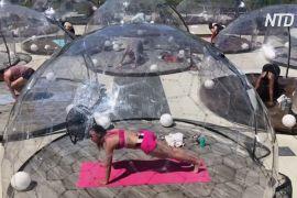 У Торонто встановили прозорі куполи для занять йогою