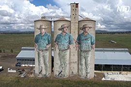 Гігантські мурали в Австралії: на зерносховищі намалювали «провісника води»