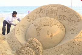 Фестиваль піщаних скульптур в Індії проходить без іноземних майстрів