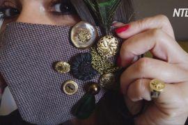 Маски як прикраси: грецька дизайнерка використовує для декору стрази, камені та пір'я