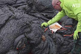 На лаві вулкана в Ісландії смажать сосиски