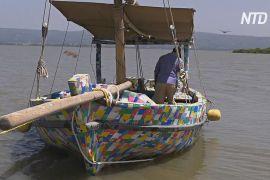 Зроблений із відходів пластиковий човен спустили на воду в озері Вікторія