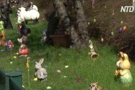 Великодня казка біля дому: берлінець прикрасив газон яйцями й кумедними фігурками