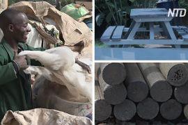 Еколог з Уганди робить столи й паркани з пластикового сміття